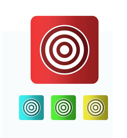 intention: Several different colored icons on a white background. Set of four targets on white background
