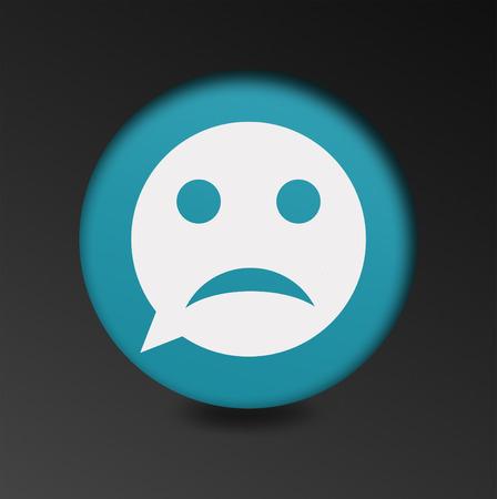 Foto de archivo , Triste signo icono cara. Tristeza símbolo depresión de  chat. Burbuja del discurso botón redondo. el concepto de mal humor en el  chat