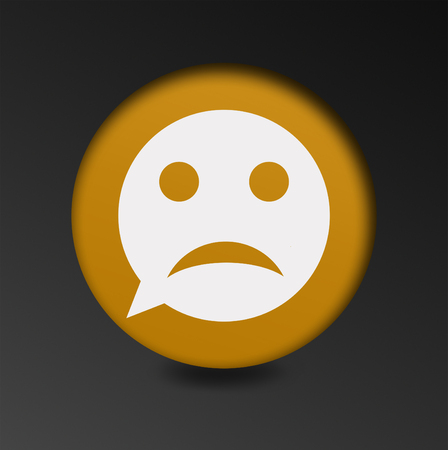 gloom: Sad face sign icon. Sadness depression chat symbol. Round button speech bubble. the concept of a bad mood chatting Stock Photo