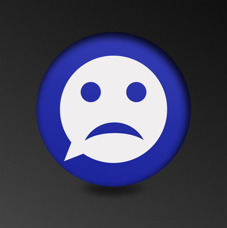 bad mood: Sad face sign icon. Sadness depression chat symbol. Round button speech bubble. the concept of a bad mood chatting Stock Photo