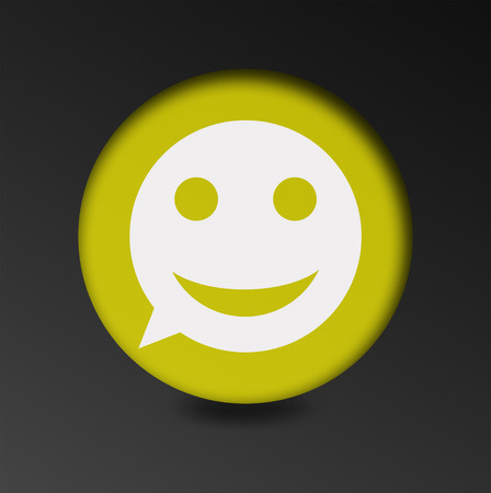 merry mood: merry face sign icon. Round button speech bubble. concept of good mood chatting Stock Photo