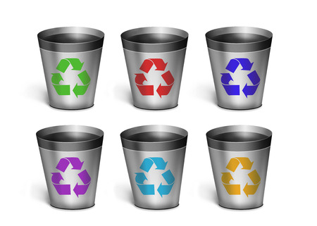 set dumpsters. six simple dumpsters on a white background. concept of Ecology photo