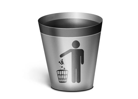 An empty trash can. simple metal trash bin on a white background. Trash can with the image of a man photo