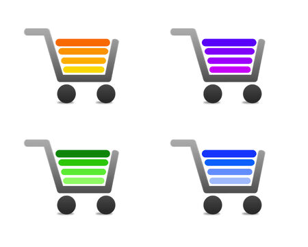 shopping Carts set of four options.  four colored shopping Carts on a white background photo
