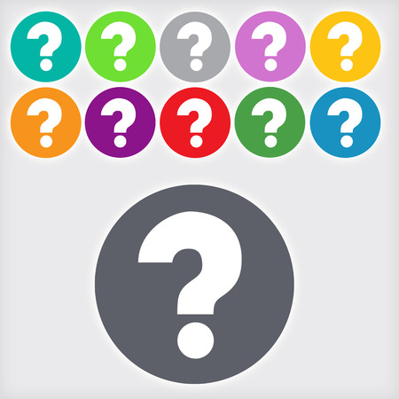 help symbol: Question mark sign icon,  11 Round colourful buttons, Help symbol.