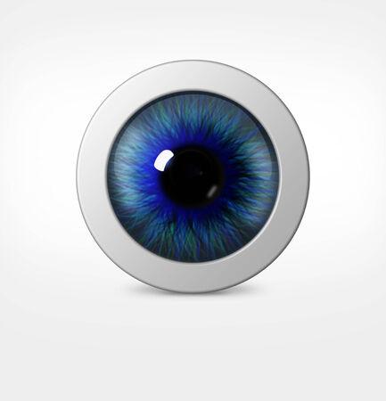 globo ocular: 3d ojo del hombre sobre fondo blanco. Globo del ojo con pupila tinte azul