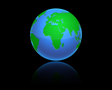 Earth model planet featuring Africa and middle eastern countries surrounded by blue ocean. illustration of Earth isolated on black background illustration