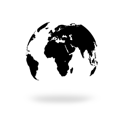 abstract black image of planet earth. illustration of Earth isolated on white background.