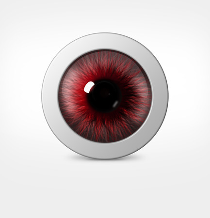 wide open: 3d eye of man on white background. eyeball with pupil red hue
