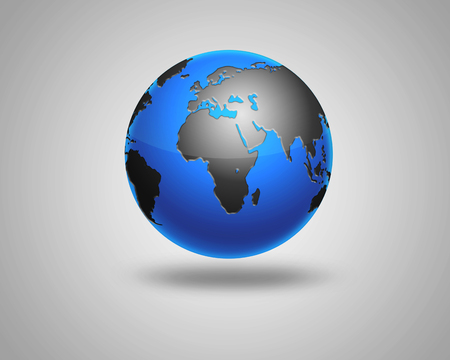 middle eastern: Earth model planet featuring Africa and middle eastern countries surrounded by blue ocean. illustration of Earth isolated on light background
