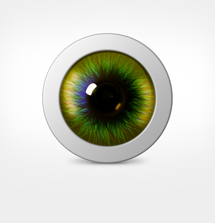 hue: 3d eye of man on white background. eyeball with pupil green hue Stock Photo