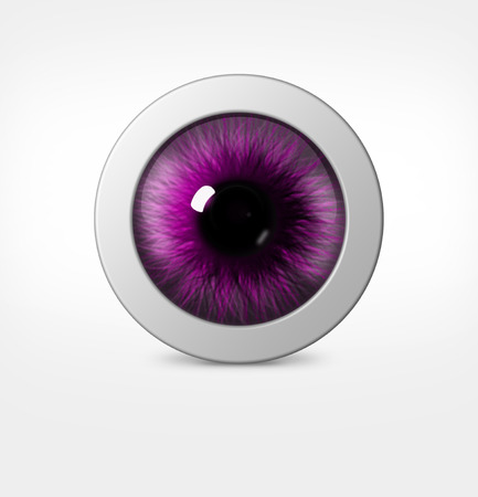 hue: 3d eye of man on white background. eyeball with pupil purple hue