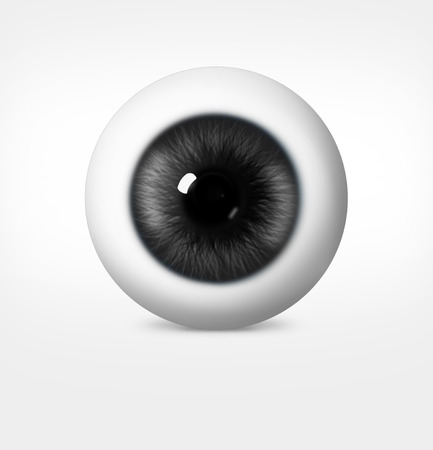 3d eye of man on white background. eyeball with pupil gray shade
