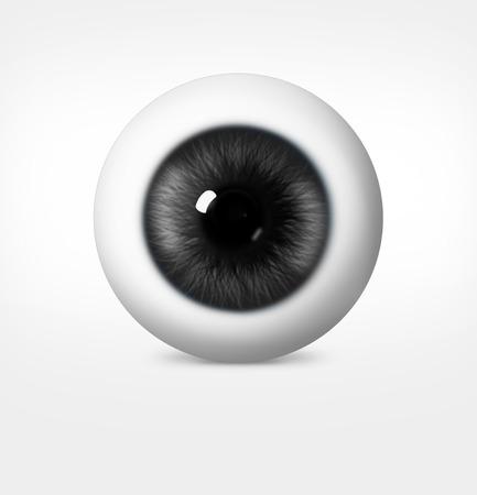eye shade: 3d eye of man on white background. eyeball with pupil gray shade