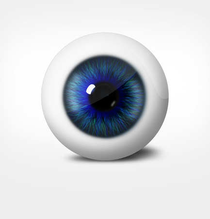 optometry: 3d eye of man on white background. eyeball with pupil blue tint