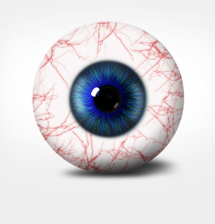 3d eye of man on white background. eyeball with pupil shade of blue with red vessels