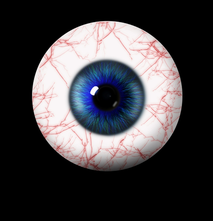 eyes wide open: 3d blue eye on black background. eyeball with pupil shade of blue with red vessels Stock Photo