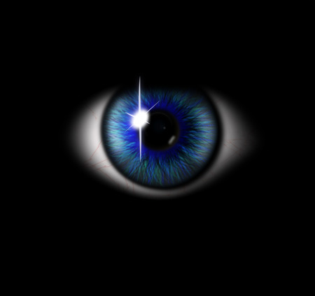 3d blue eye on black background. eyeball with pupil blue tint