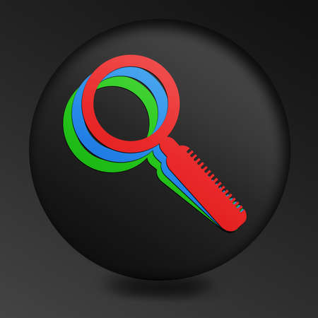 three colored: Magnifying Glass Icon on Round Black Button. concept of Internet search. three colored silhouette of a magnifying glass on a single icon Stock Photo