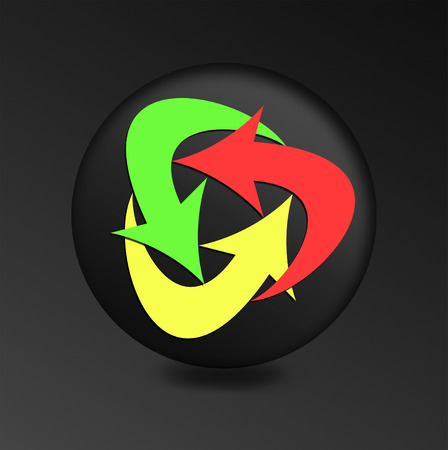 Internet button on black background. yellow, green and red arrows on the black button. illustration  recycle icon illustration
