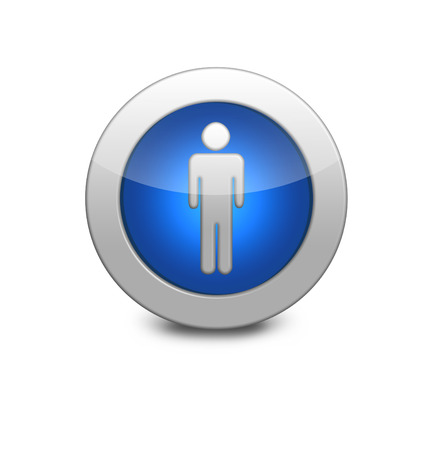 Blue button with the image of the men.  Internet button on white background. photo