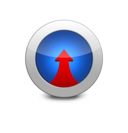 Internet button on white background. Blue icon arrow up. red up arrow photo