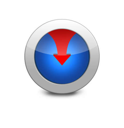 Internet button on white background. Blue icon arrow down. red arrow down photo