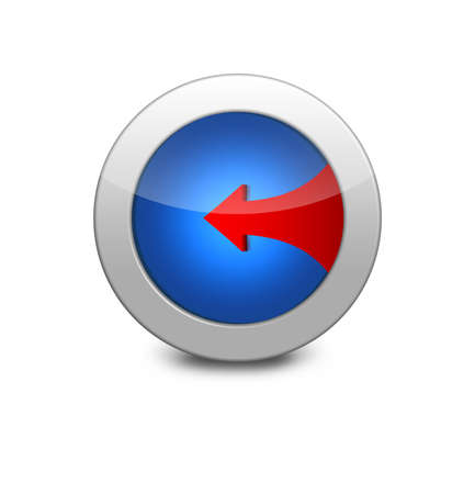 the red arrow to the left. Internet button on white background. Blue icon arrow left photo