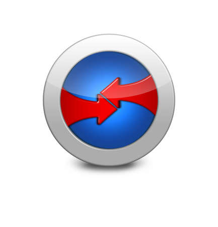 Internet button on white background. Blue button with opposing arrows. two red arrows photo