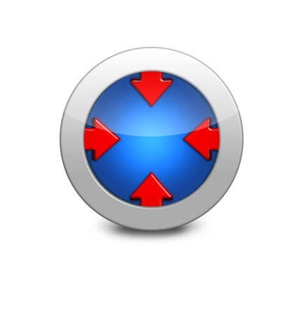 Blue arrow icon in the center. Internet button on white background. Four red arrows photo