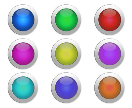 collection of color buttons on a white background. nine color buttons of different colors photo