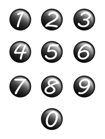 set black buttons with numbers. Internet button on white background