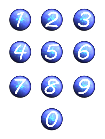 web 2 0: set blue buttons with numbers. Internet button on white background