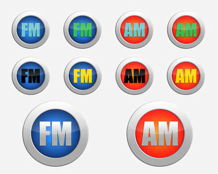 fm radio: set of colored FM and AM radio-icons. colored FM radio icon. colored AM radio icon