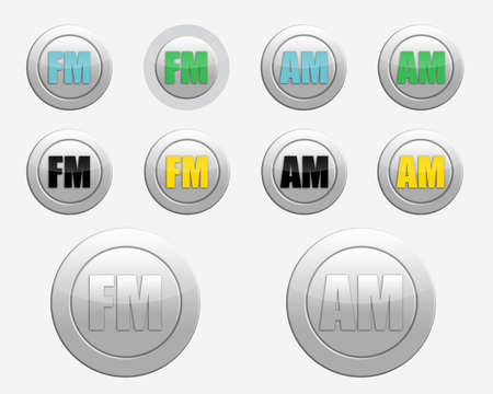 am radio: set of colored FM and AM radio-icons. colored FM radio icon. colored AM radio icon