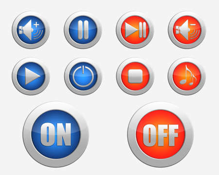 set of colored the elements for media player. colored a set of basic functional,  multimedia buttons photo