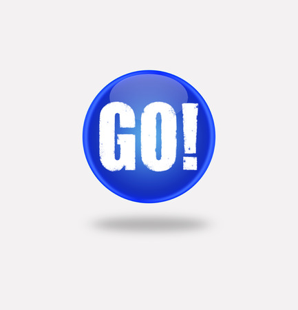 internet button on white background. illustration icon with the word go. blue button with the word go. illustration
