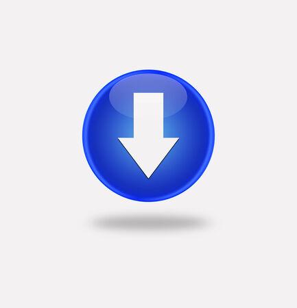 Internet button on white background. Blue icon arrow down photo
