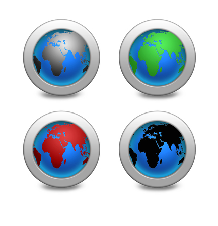 illustration Earth globe set. Earth four icons in different colors illustration