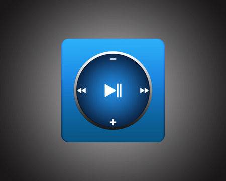 set of the elements for media player. Interface multimedia player with a set of basic functional buttons. Blue square player on dark background photo