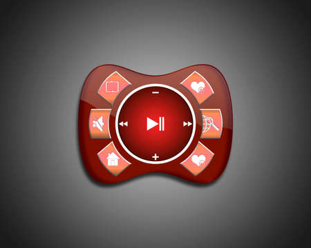 set of the elements for media player. Interface multimedia player with a set of basic functional buttons. Red media Player photo