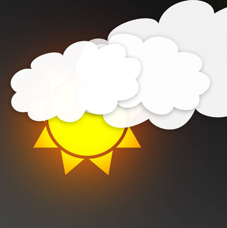 floats: illustration of cool single weather icon - sun with clouds floats in the dark sky. Weather symbol Stock Photo