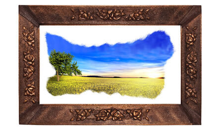 framed picture: landscape framed, landscape painting in a bronze frame, picture frame in the countryside