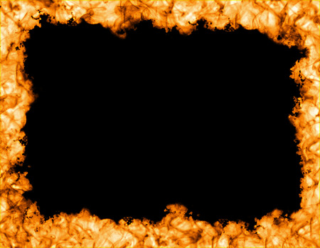 sides: Fire frame on black background, fire on the sides