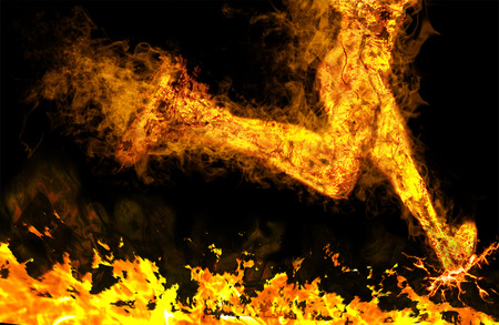 Fiery running man with motion effect on black