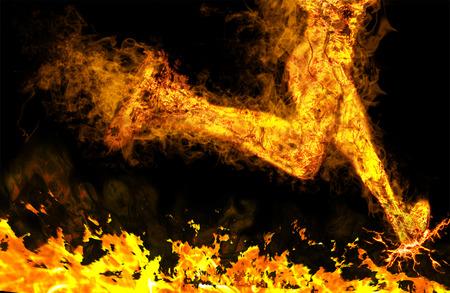 Vurige running man met motion effect op zwart Stockfoto