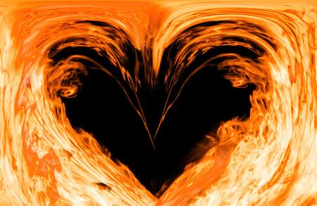 Hart gemaakt van brand, hart in vlammen, het vuur in de vorm van hart