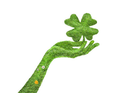 found: Hand with a four-leaf clover isolated, Hand covered with grass, a clover in his hand, a clover and a hand covered with green grass