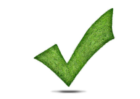 green check mark: Green check mark, Grass green tick on a white background