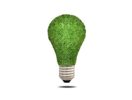 overuse: light bulb is covered with greenery, the lamp is covered with green grass, concept of ecology